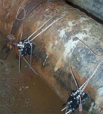 Caudalímetro de ultrasonidos en tubería de abastecimiento